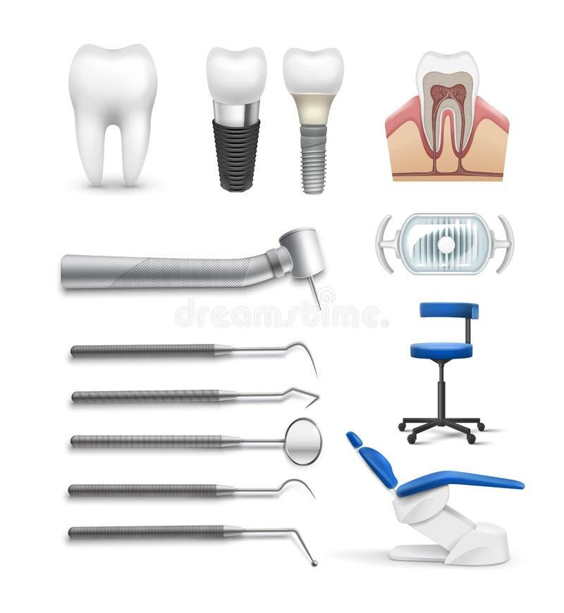 Insieme degli oggetti dentari illustrazione di stock