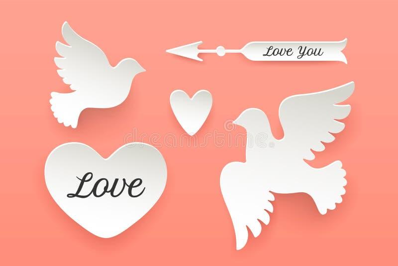 Insieme degli oggetti di carta, cuore, piccione, uccello, freccia illustrazione vettoriale