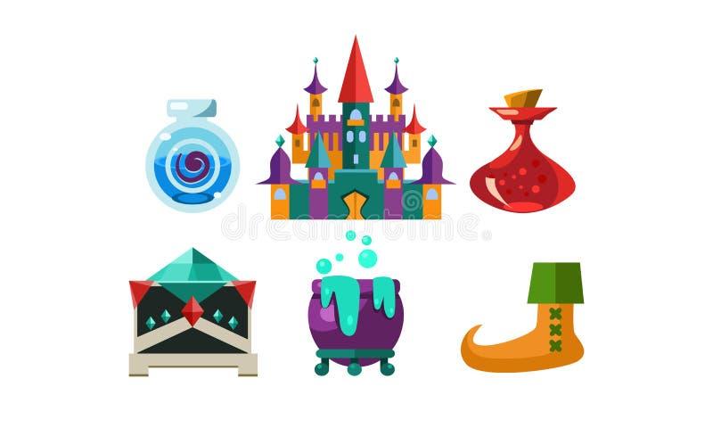Insieme degli oggetti di magia del fumetto Bottiglie con elisir, il grande castello, il calderone con pozione d'ebollizione ed il royalty illustrazione gratis