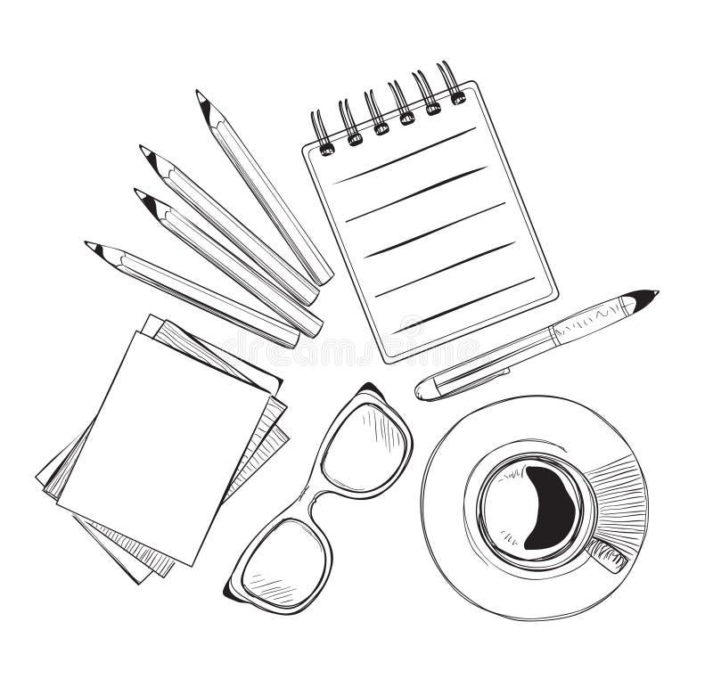 Insieme degli oggetti disegnati a mano per la gente di affari illustrazione di stock