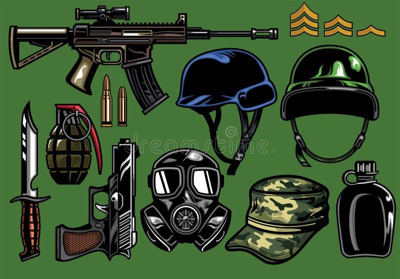 Insieme degli oggetti militari illustrazione vettoriale