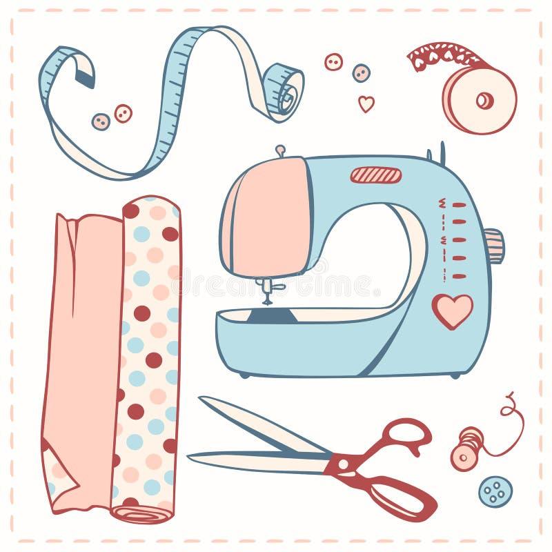 Insieme degli oggetti per cucito illustrazione vettoriale for Programmi per progettare oggetti