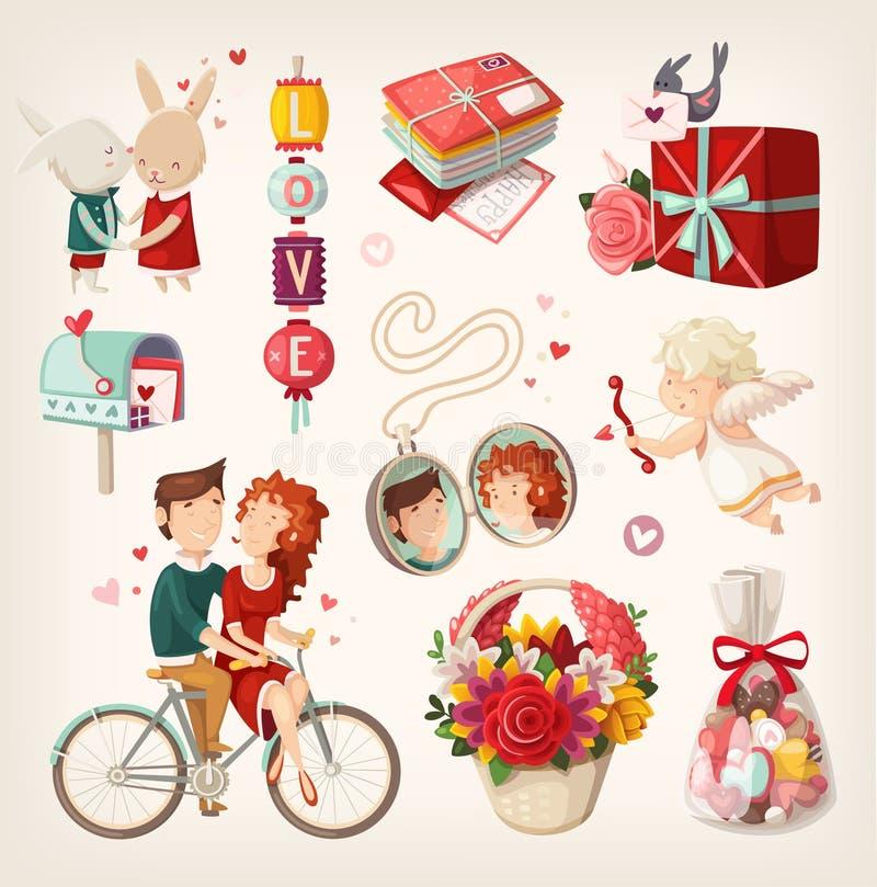 Insieme degli oggetti per il San Valentino royalty illustrazione gratis