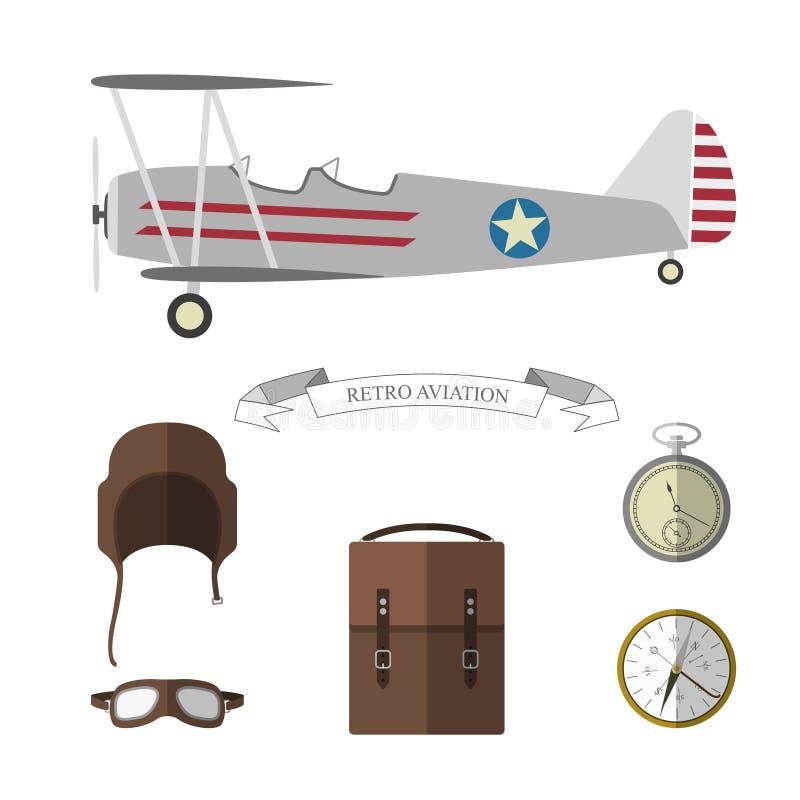 Insieme degli oggetti pilota Retro raccolta degli oggetti di aviazione royalty illustrazione gratis