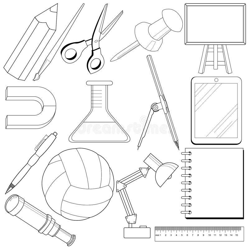 Insieme degli oggetti relativi della scuola illustrazione di stock
