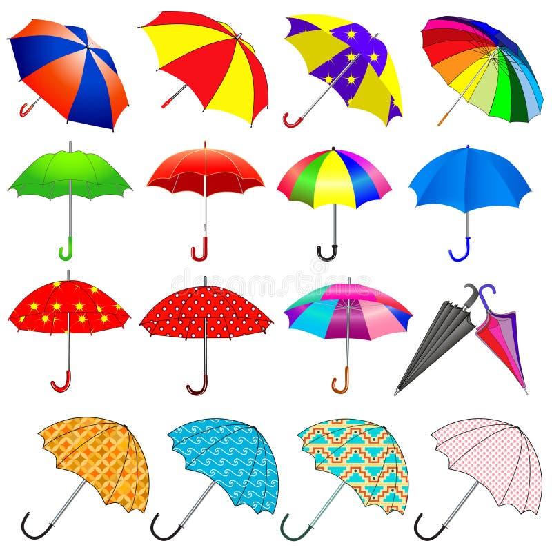 Insieme degli ombrelli dalla pioggia illustrazione di stock