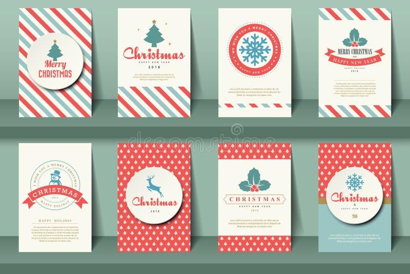 Insieme degli opuscoli di Natale nello stile d'annata illustrazione di stock