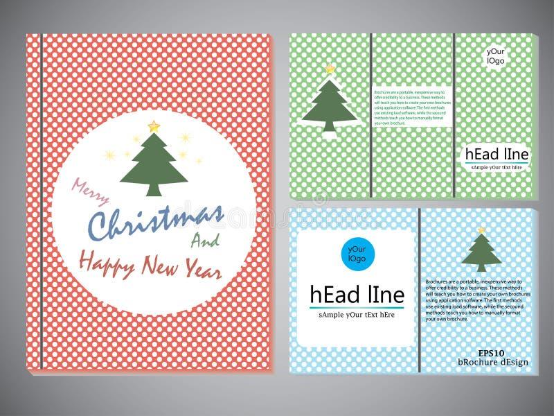 Insieme degli opuscoli di Natale nello stile d'annata, modello della copertina di libro per l'opuscolo, aletta di filatoio, rappo illustrazione vettoriale