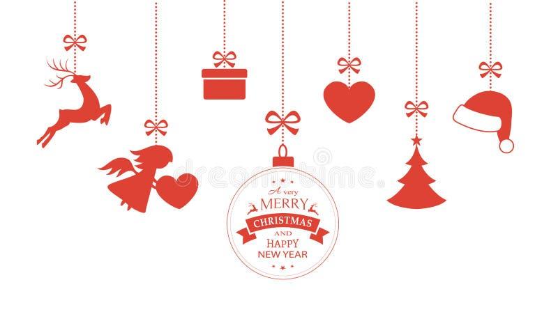 Insieme degli ornamenti d'attaccatura di Natale illustrazione vettoriale