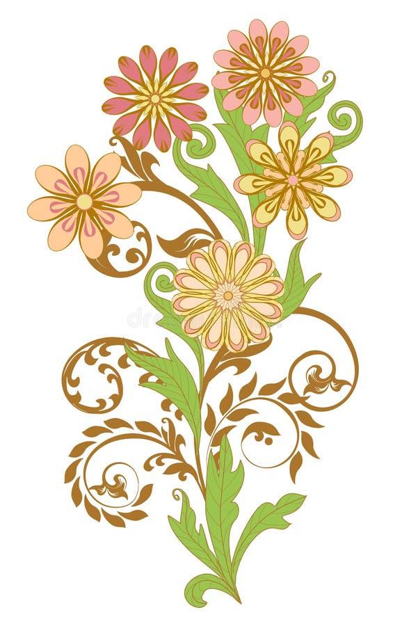 Insieme degli ornamenti floreali decorativi royalty illustrazione gratis