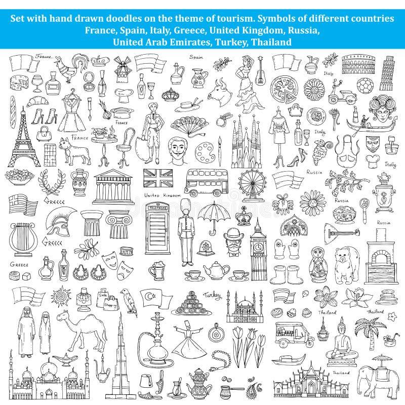 Insieme degli scarabocchi sul tema dei paesi di Europa, Asia royalty illustrazione gratis