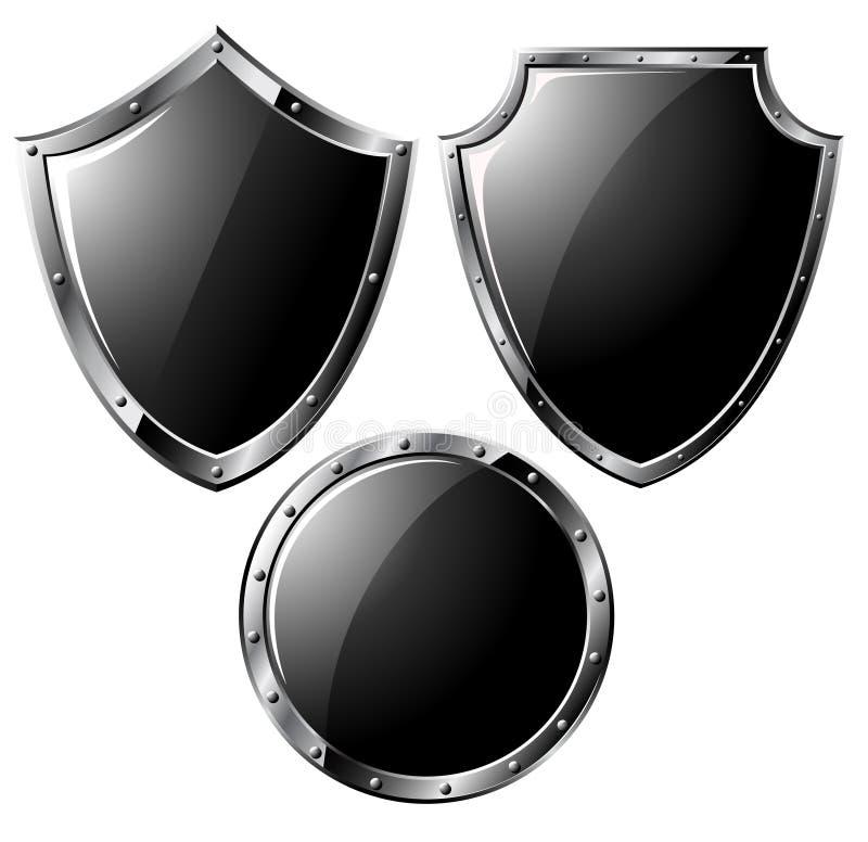 Insieme degli schermi d'acciaio neri illustrazione vettoriale
