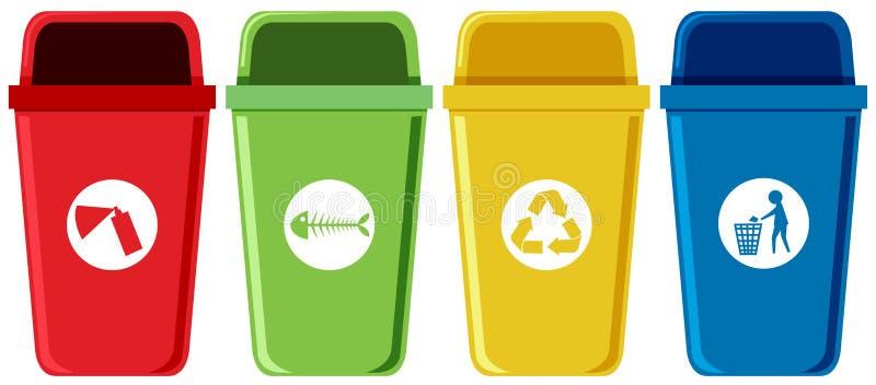 Insieme degli scomparti di riciclaggio illustrazione di stock