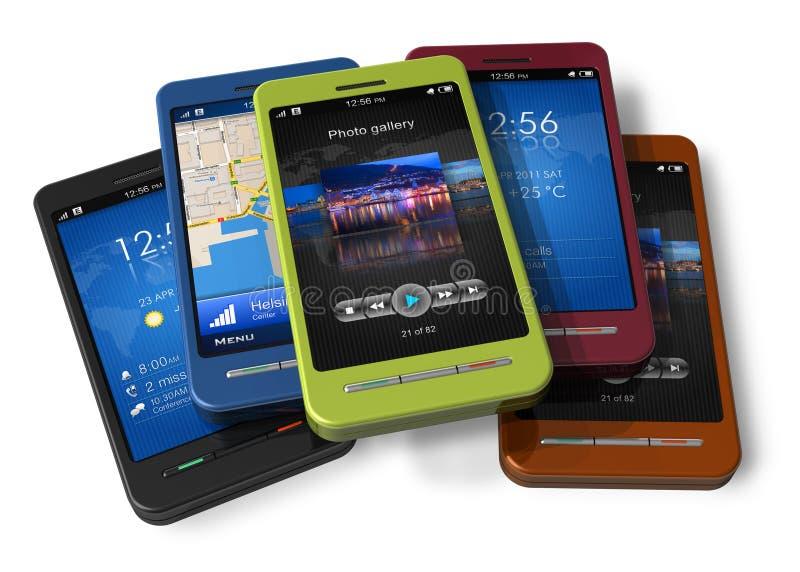 Insieme degli smartphones dello schermo attivabile al tatto illustrazione vettoriale