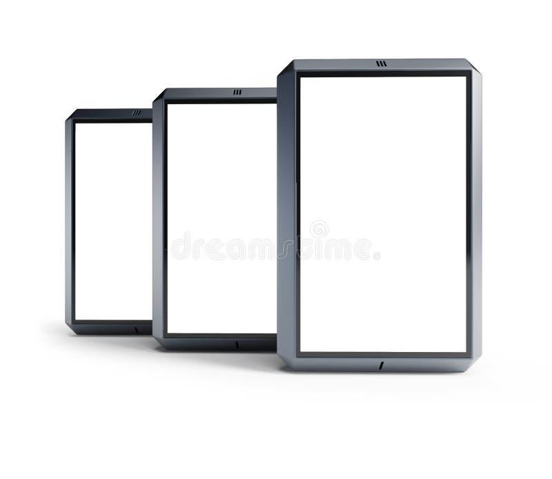 Insieme degli smartphones moderni dello schermo attivabile al tatto illustrazione vettoriale
