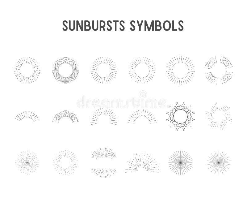 Insieme degli sprazzi di sole d'annata, luci della stella sillhouette, progettazione del lineart Vettore illustrazione di stock