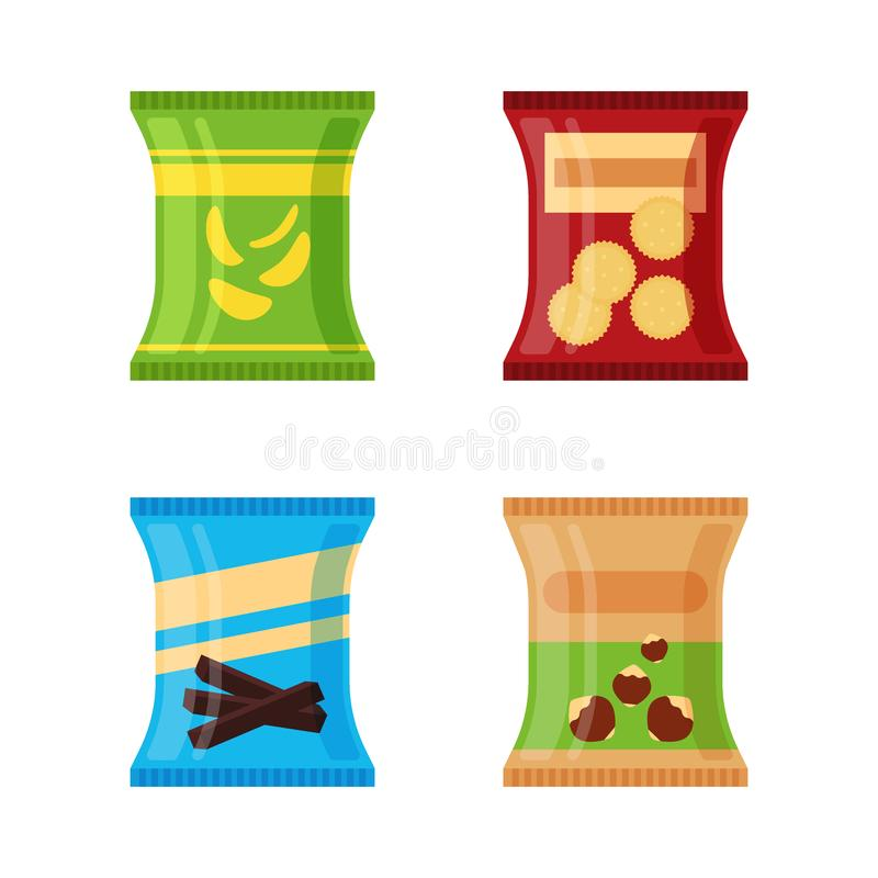 Insieme degli spuntini differenti - i chip salati, il cracker, cioccolato attacca, dadi isolati su fondo bianco Prodotto per vend illustrazione vettoriale