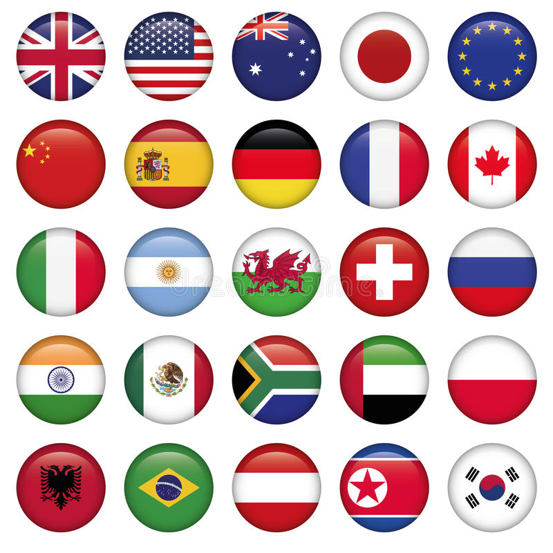 Insieme degli stati rotondi della cima del mondo delle bandiere illustrazione di stock