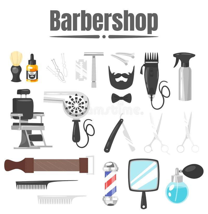 Insieme degli strumenti del parrucchiere illustrazione vettoriale
