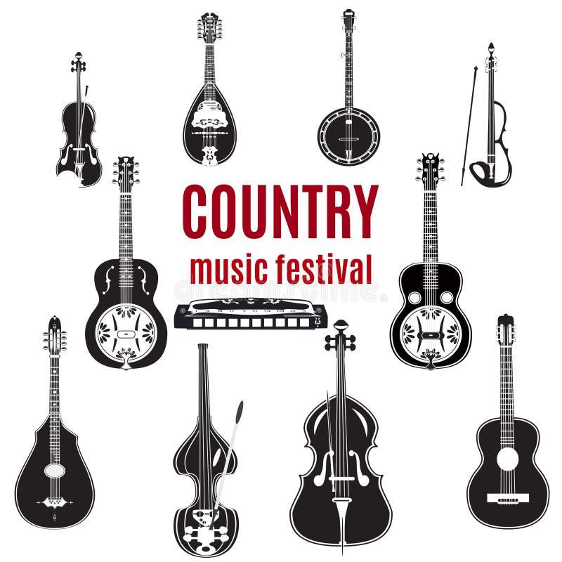 Insieme degli strumenti di musica country, progettazione piana in bianco e nero di vettore illustrazione vettoriale