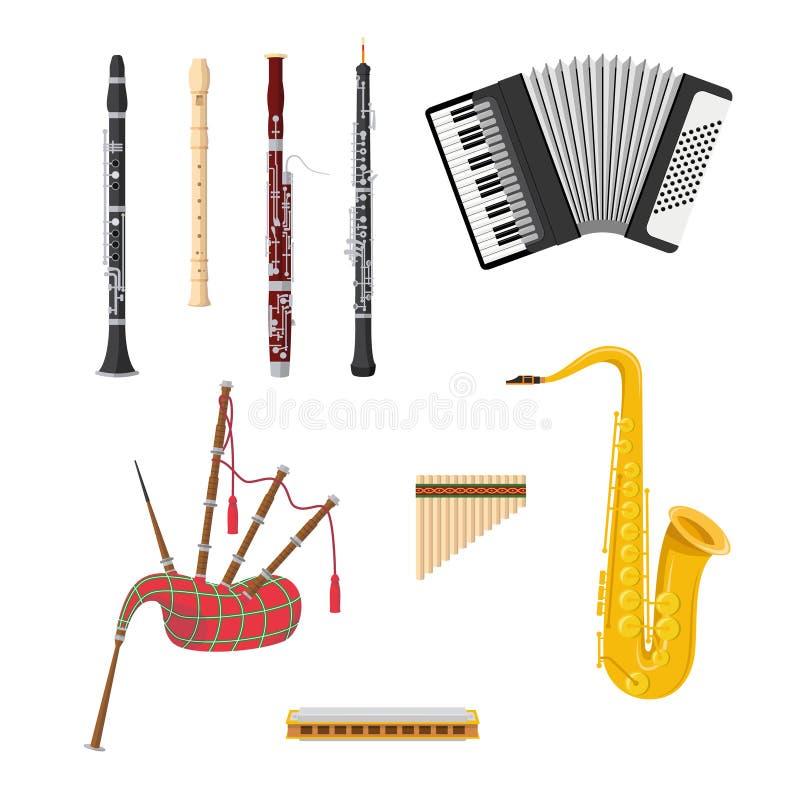Insieme degli strumenti musicali degli strumenti a fiato nello stile del fumetto isolati su fondo bianco royalty illustrazione gratis