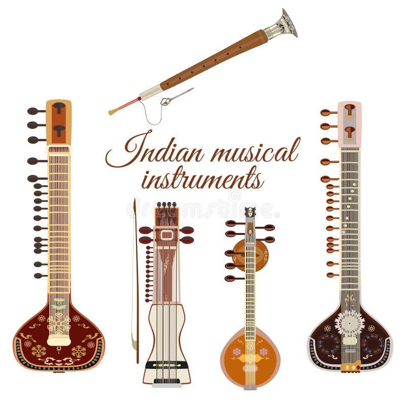 Insieme degli strumenti musicali indiani, stile piano di vettore illustrazione di stock