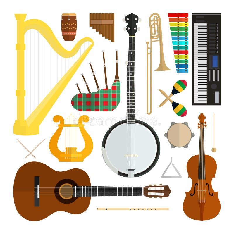 Insieme degli strumenti musicali piani moderni di progettazione di vettore royalty illustrazione gratis