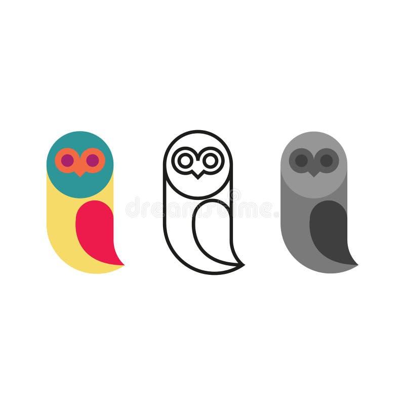 Insieme degli uccelli di logo del gufo, linea sottile animale della siluetta del monogramma, modello dell'emblema della raccolta  illustrazione vettoriale