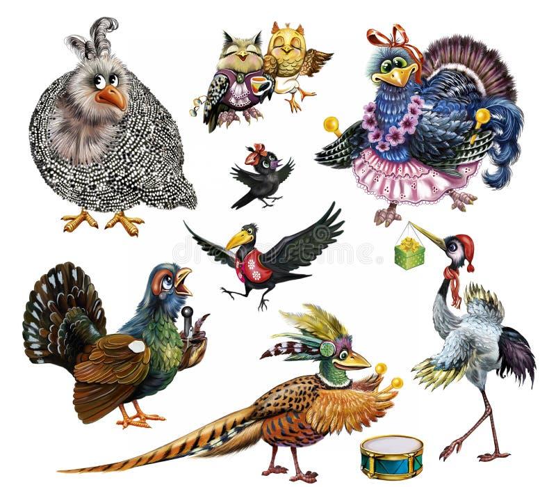 Insieme degli uccelli divertenti illustrazione vettoriale