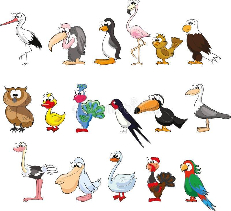 Insieme degli uccelli svegli del fumetto royalty illustrazione gratis