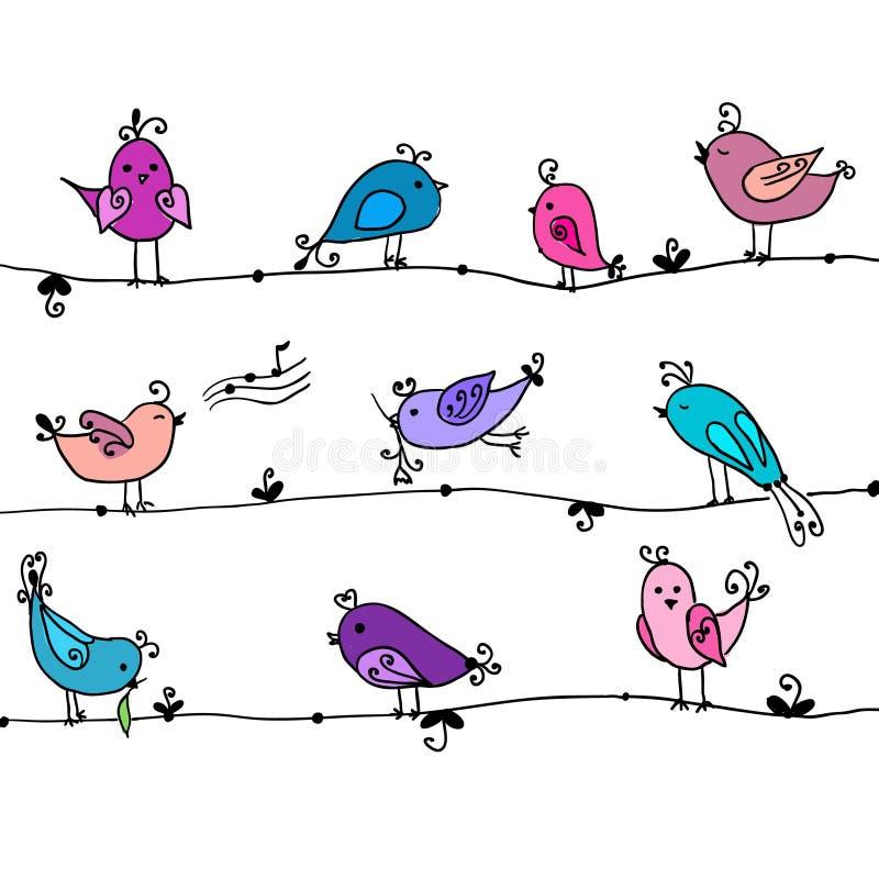 Insieme degli uccelli svegli nel vettore royalty illustrazione gratis