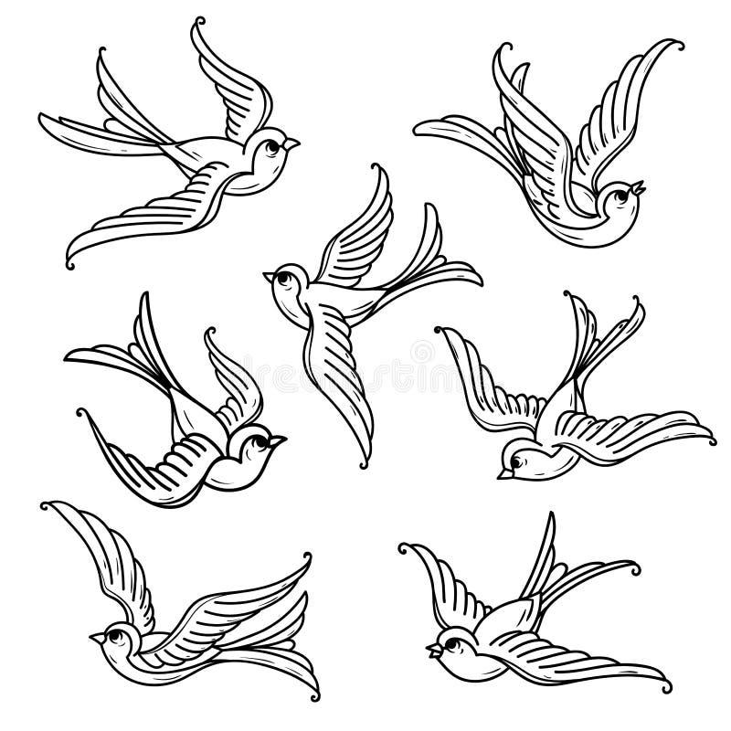Insieme degli uccellini azzurri di volo Liberi gli uccelli Simbolo di speranza illustrazione vettoriale