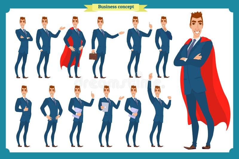 Insieme degli uomini d'affari che presentano in varia azione Uomo felice in vestito Carattere della gente royalty illustrazione gratis