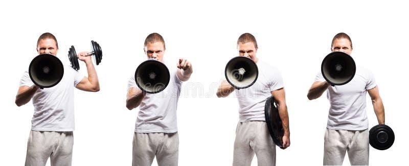 Insieme degli uomini sportivi del culturista con un megafono immagine stock