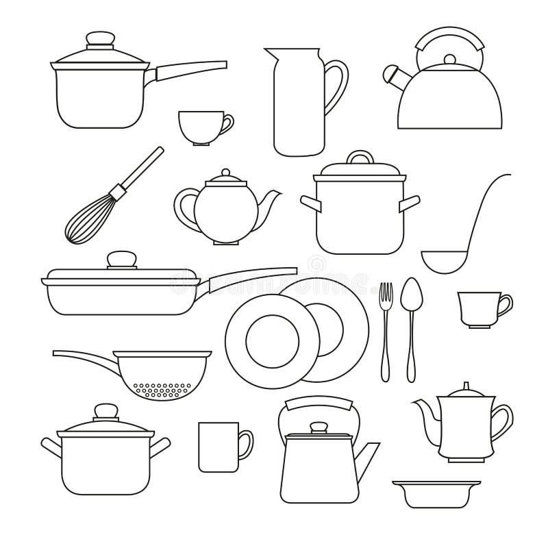 Insieme degli utensili della cucina illustrazione di stock