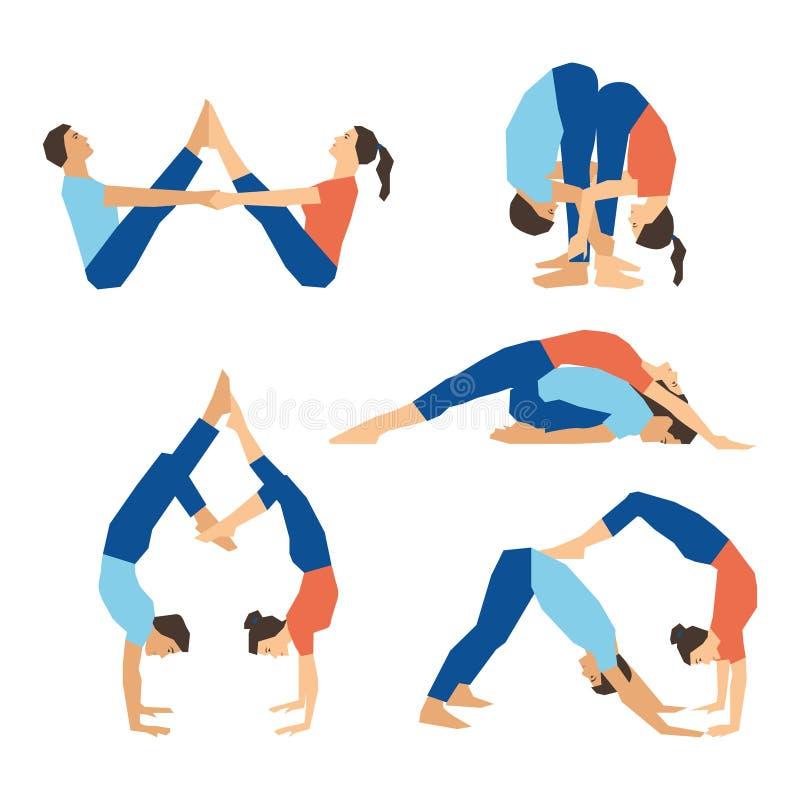 Insieme dei asanas di yoga per yoga delle coppie su un contesto bianco illustrazione vettoriale
