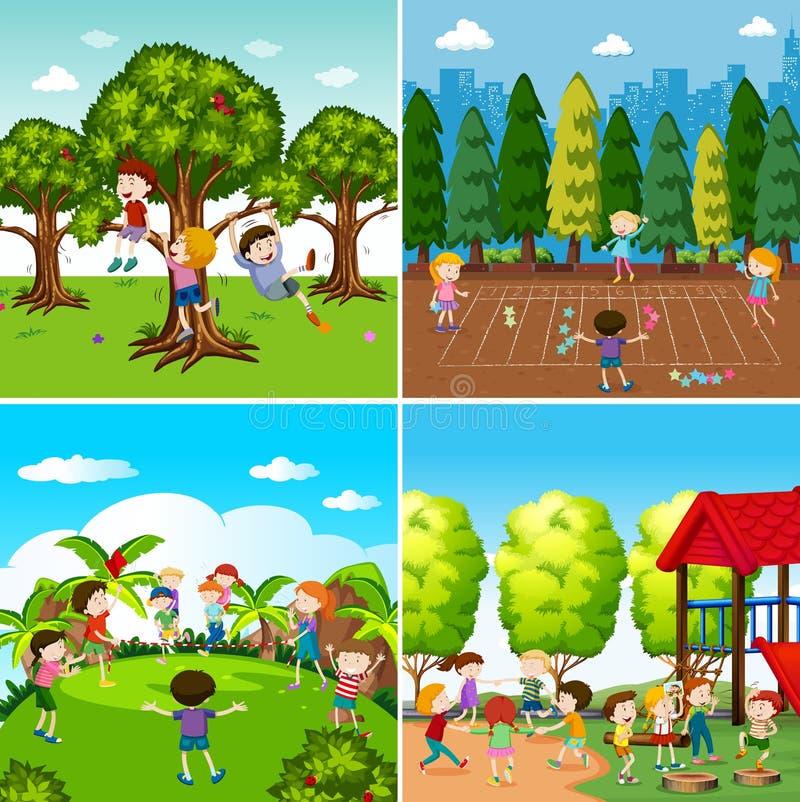 Insieme dei bambini che giocano le scene illustrazione vettoriale