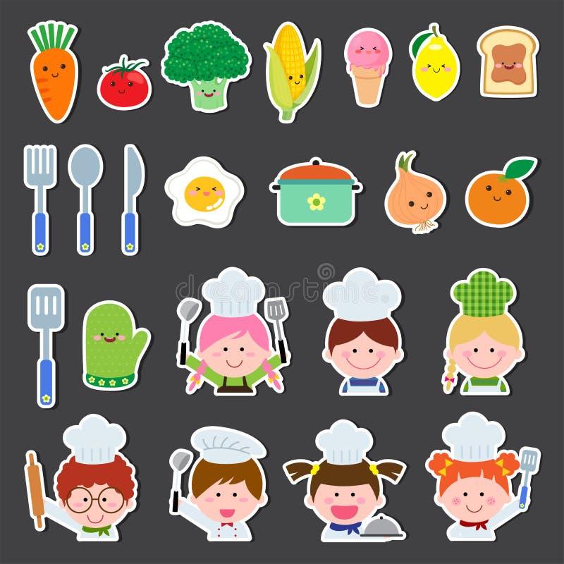 Insieme dei bambini del cuoco unico e degli elementi della cucina royalty illustrazione gratis