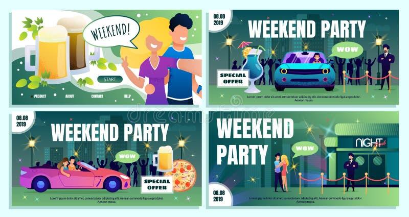 Insieme dei banner pubblicitari di offerta speciale di fine settimana del night-club illustrazione di stock