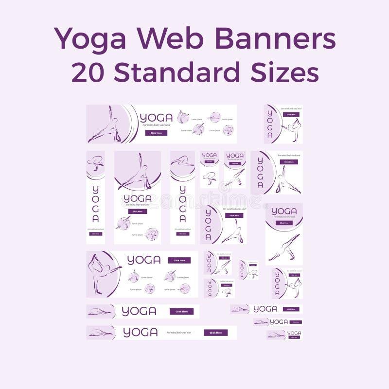 Insieme dei bannes di web di yoga di vettore royalty illustrazione gratis