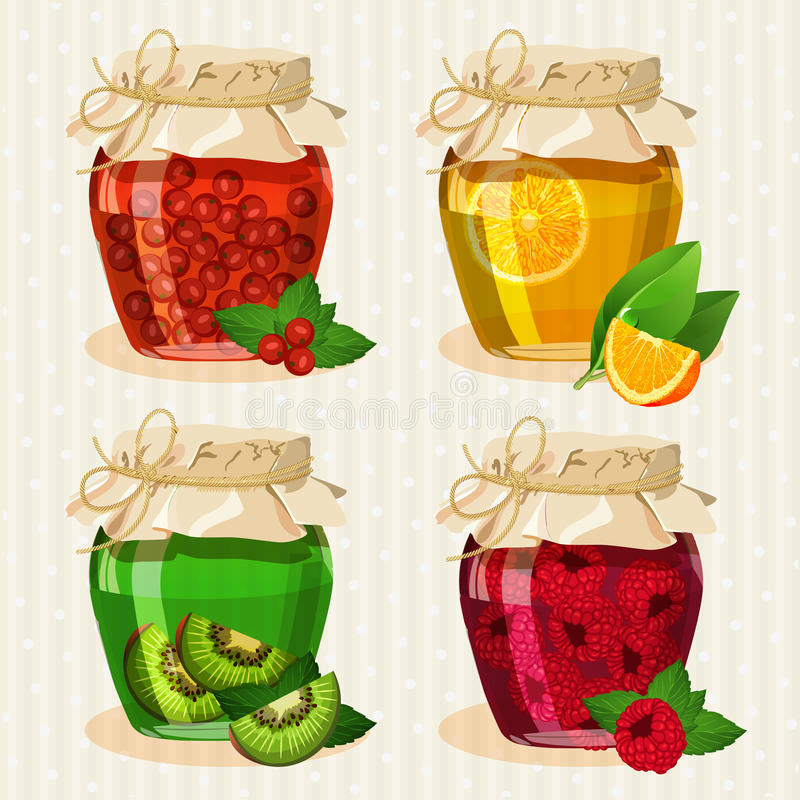 Insieme dei barattoli con i frutti illustrazione di stock