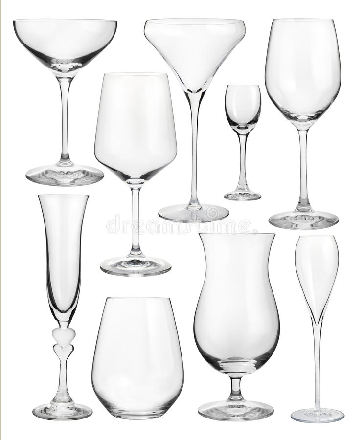 Insieme dei bicchieri di vino isolati su bianco immagine stock
