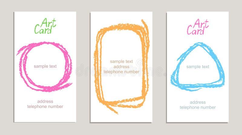 Insieme dei biglietti da visita fatti a mano con le strutture del disegno della mano illustrazione vettoriale