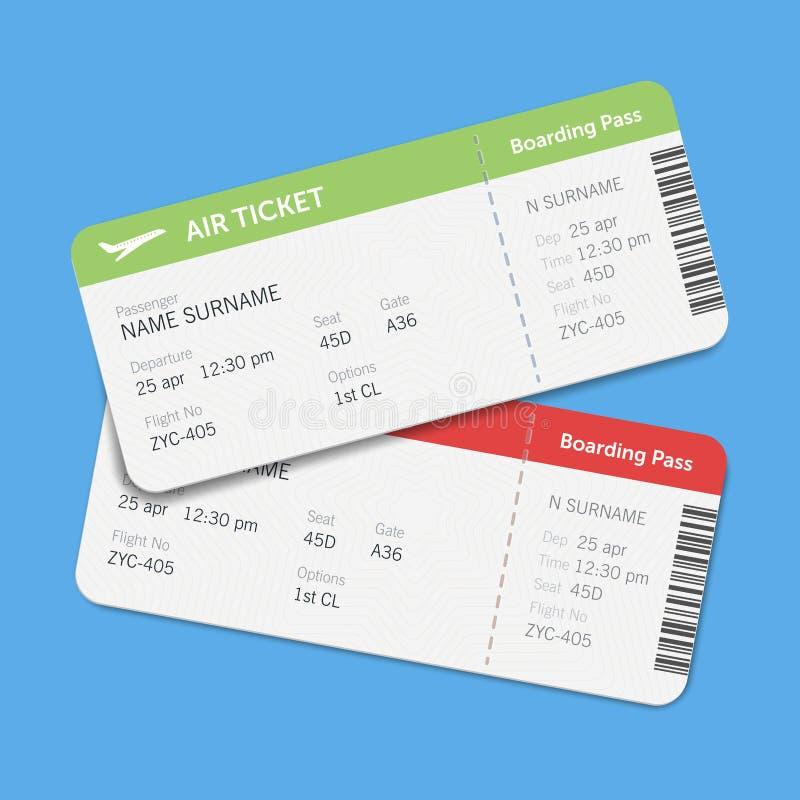 Insieme dei biglietti del passaggio di imbarco di linea aerea con ombra Isolato su fondo blu Progettazione piana di vettore royalty illustrazione gratis