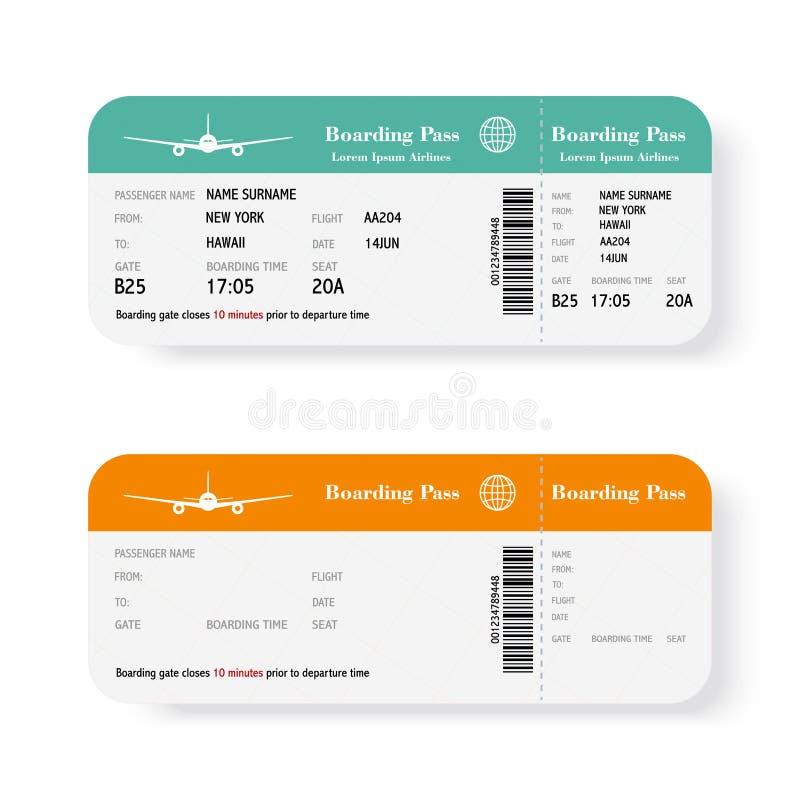 Insieme dei biglietti del passaggio di imbarco di linea aerea con ombra Isolato su priorità bassa bianca Illustrazione di vettore royalty illustrazione gratis