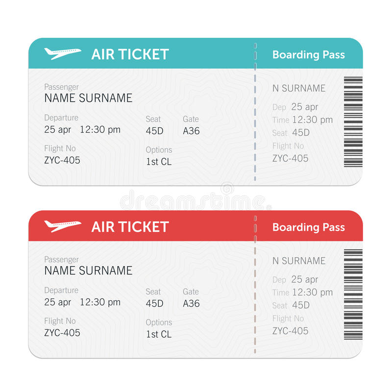 Insieme dei biglietti del passaggio di imbarco di linea aerea Isolato su priorità bassa bianca Progettazione piana di vettore illustrazione vettoriale