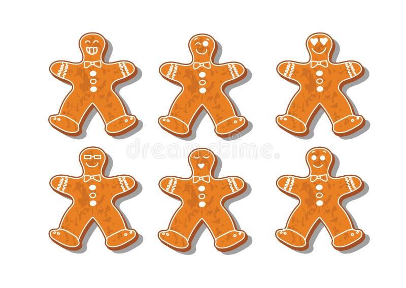 Insieme dei biscotti di natale Metta dei biscotti differenti del pan di zenzero per natale Pan di zenzero del nuovo anno sotto fo royalty illustrazione gratis