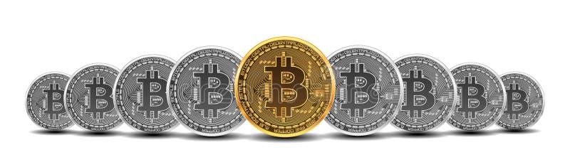 Insieme dei bitcoins dell'argento e dell'oro illustrazione vettoriale