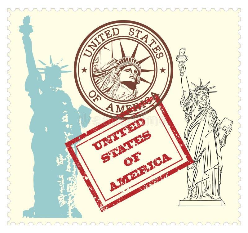 Insieme dei bolli degli S.U.A. e statua del illustrati di libertà illustrazione vettoriale