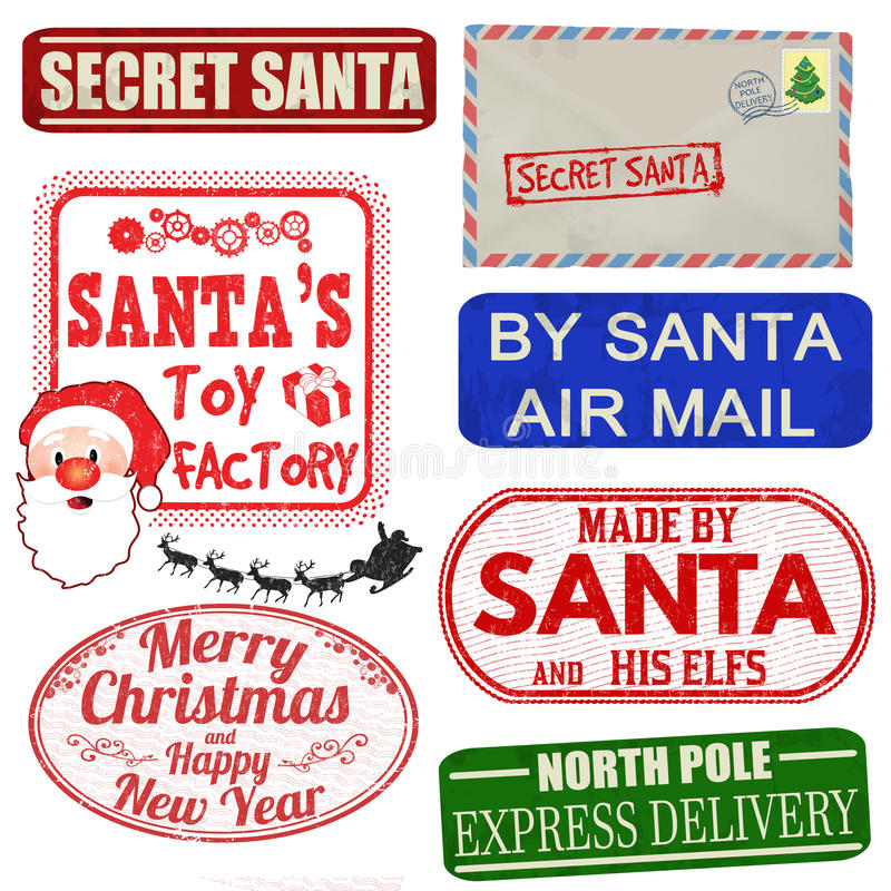 Insieme dei bolli e delle etichette isolati di Natale illustrazione vettoriale
